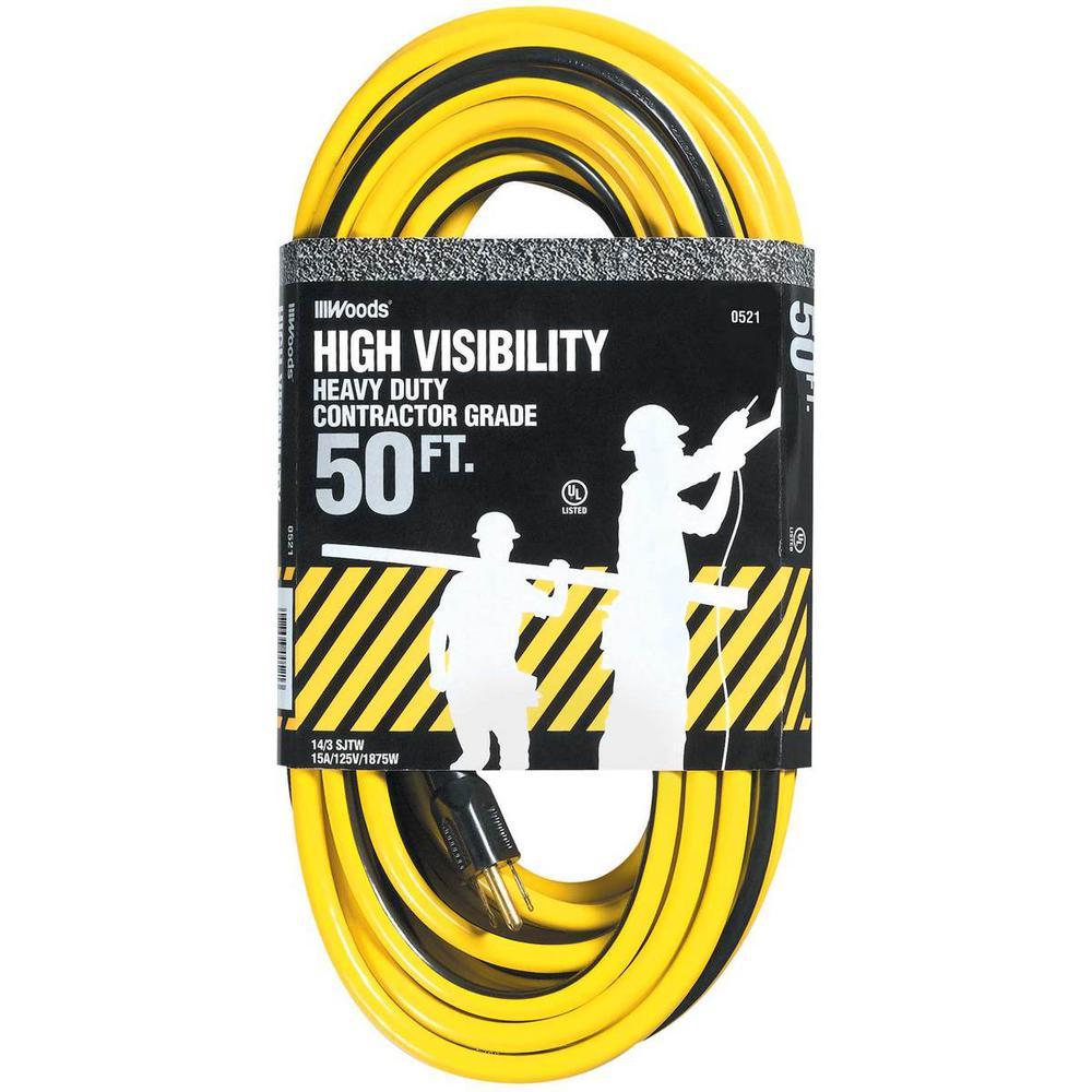 50 ft. 14/3 SJTW Multi-Color Outdoor Medium-Duty Extension Cord