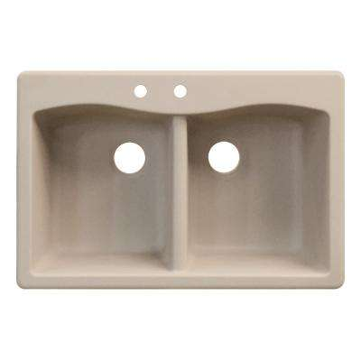 Aversa Drop-in Granite 33 in. 2-Hole Equal Double Bowl Kitchen Sink in Cafe Latte