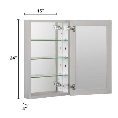 19 in. W x 24 in. H x 4 in. D Recessed or Surface Frameless 1-Door Medicine Cabinet with 3-Adjustable Shelves