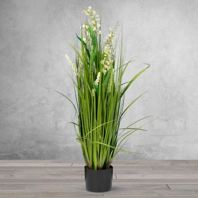 3 ft. High Artificial Reed with White Snapdragon Similar Flowers