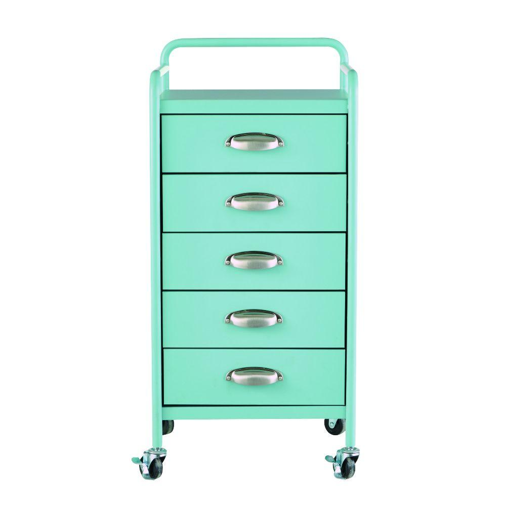 Beau Home Decorators Collection Steel 5 Drawer Cart In Matte Blue