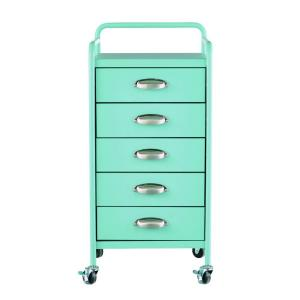 Home Decorators Collection Steel 5-Drawer Cart in Matte Blue by Home Decorators Collection