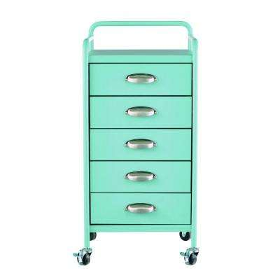Steel 5-Drawer Cart in Matte Blue