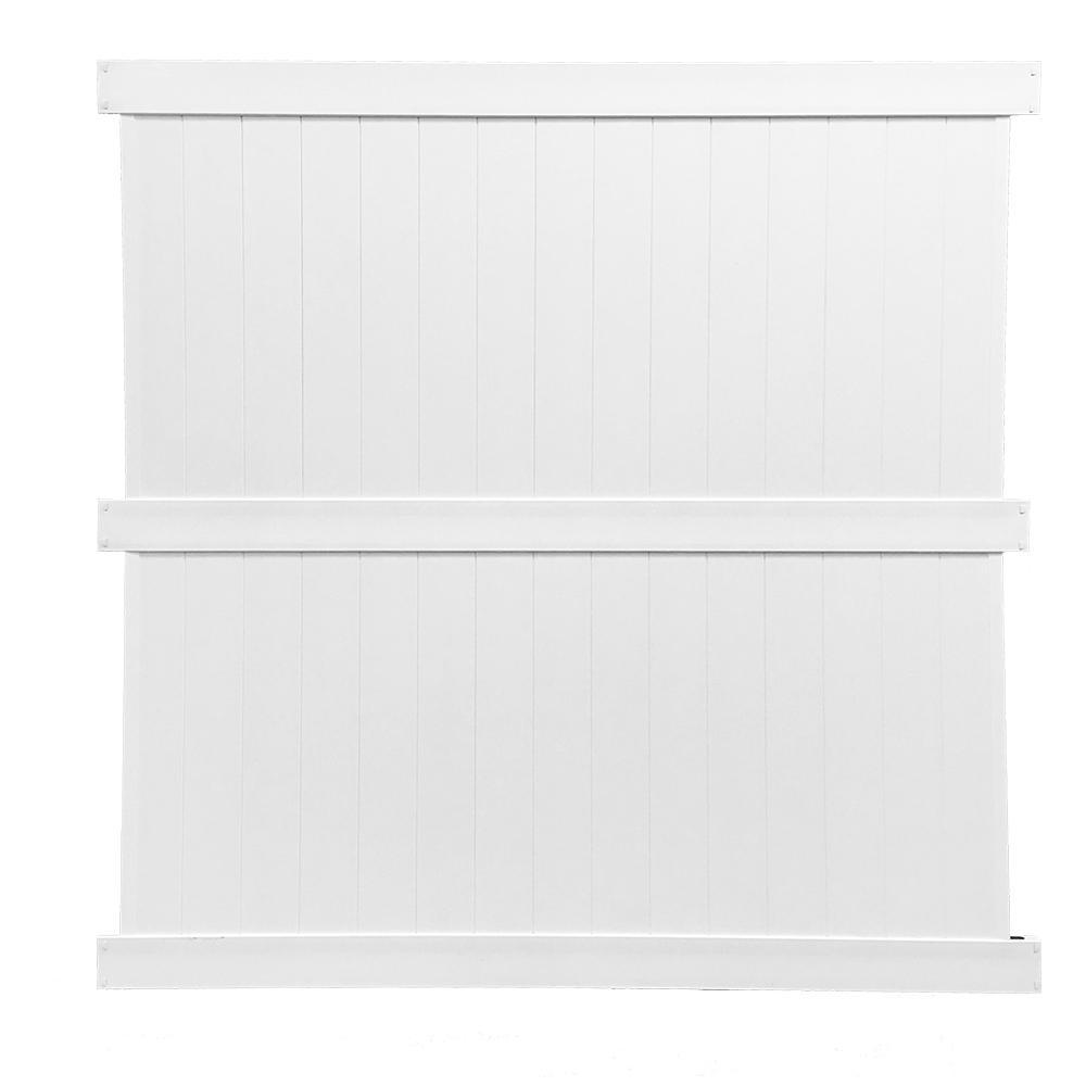 Augusta 8 ft. H x 8 ft. W White Vinyl Privacy Fence Panel Kit