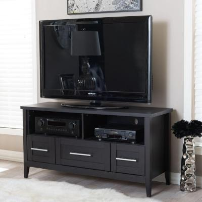 Baxton 47 in. Dark Brown Wood TV Stand with 3 Drawer Fits TVs Up to 52 in. with Cable Management