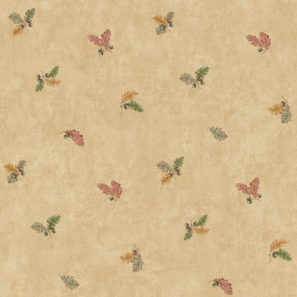 The Wallpaper Company 8 in. x 10 in. Tan Oak Leaves Mini Print Wallpaper Sample