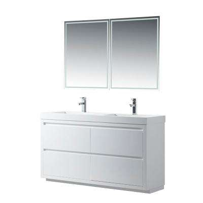 Annecy 60 in. W x 18.5 in. D x 32 in. H Bathroom Vanity in White with Double Basin Vanity Top in White Resin