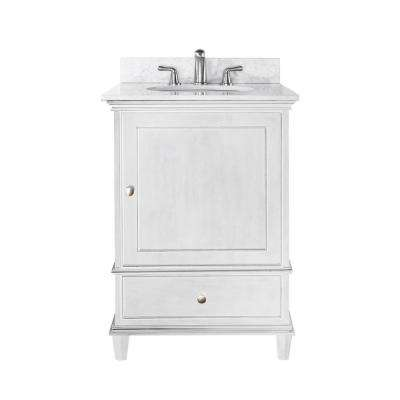 Windsor 25 in. W x 22 in. D x 35 in. H Vanity in White with Marble Vanity Top in Carrera White and White Basin