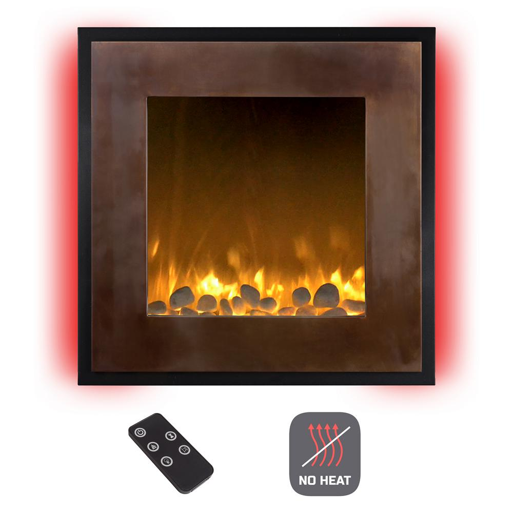 Functionality and elegance come together with this 24 in. LED Wall Mount No Heat Electric Fireplace in Bronze/Black. This artistically fashioned fireplace features a portrait style frame with a double