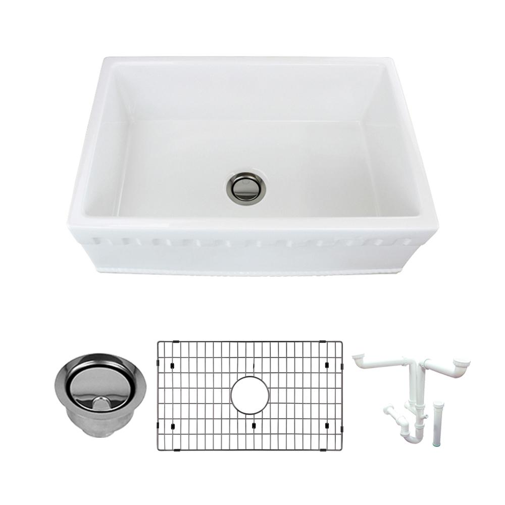 Transolid Versailles All-in-One Farmhouse/Apron-Front Fireclay 30 in. Single Bowl Kitchen Sink in White