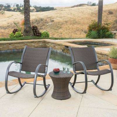 Gracie's Dark Brown 3-Piece Wicker Patio Conversation Set