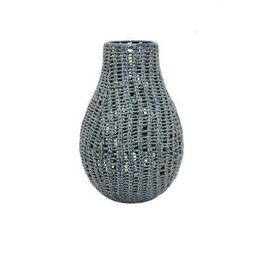 Blue Ceramic Pierced Decorative Vase with Glossy Finish