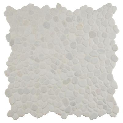 White Pebble 12 in. x 12 in. x 10mm Textured Marble Mesh-Mounted Mosaic Tile (9.1 sq. ft. / case)