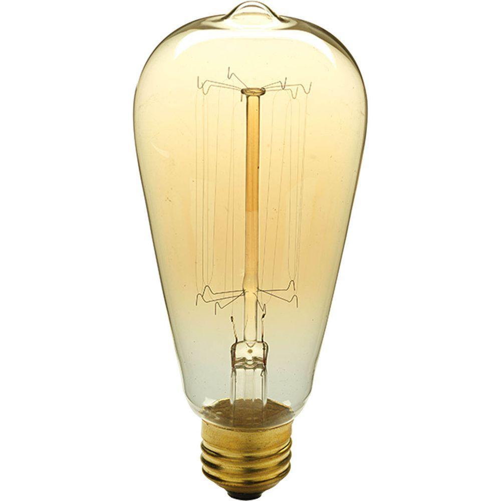 Progress Lighting 40 Watt St64 Edison E26 Medium Base Vintage Amber Incandescent Light Bulb Warm White P7825 01 The Home Depot