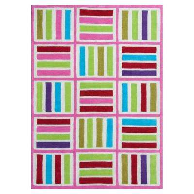 Cross Lines Ivory/Pink 3 ft. 3 in. x 5 ft. 3 in. Area Rug