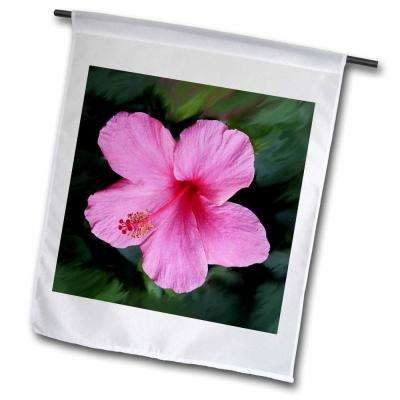Flowers 1 ft. x 1-1/2 ft. Pink Hibiscus Flag