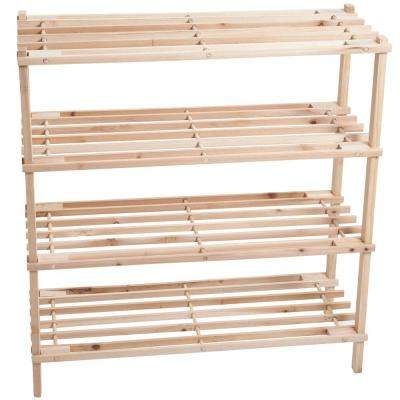 4-Tier 12-Pair Blonde Wood Shoe Organizer