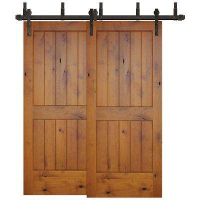 72 in. x 80 in. Bypass Rustic 2-PNL V-Groove Solid Core Knotty Alder Barn Door with Bronze Sliding Door Hardware Kit