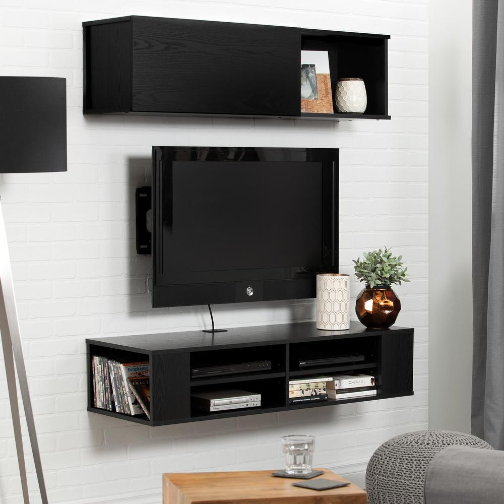 south shore city life 48 in black oak wall mounted media. Black Bedroom Furniture Sets. Home Design Ideas