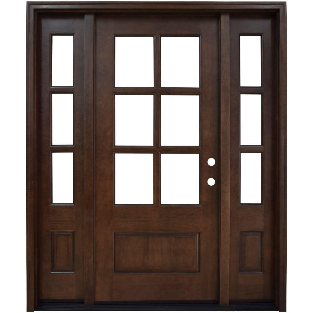 Steves & Sons 68 in. x 80 in. Savannah 6 Lite Stained Mahogany Wood Prehung Front Door with Sidelites