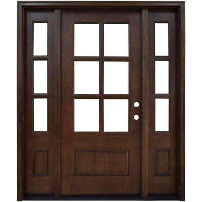 68 in. x 80 in. Savannah Clear 6 Lite LHIS Mahogany Stained Wood Prehung Front Door with Double 14 in. Sidelites