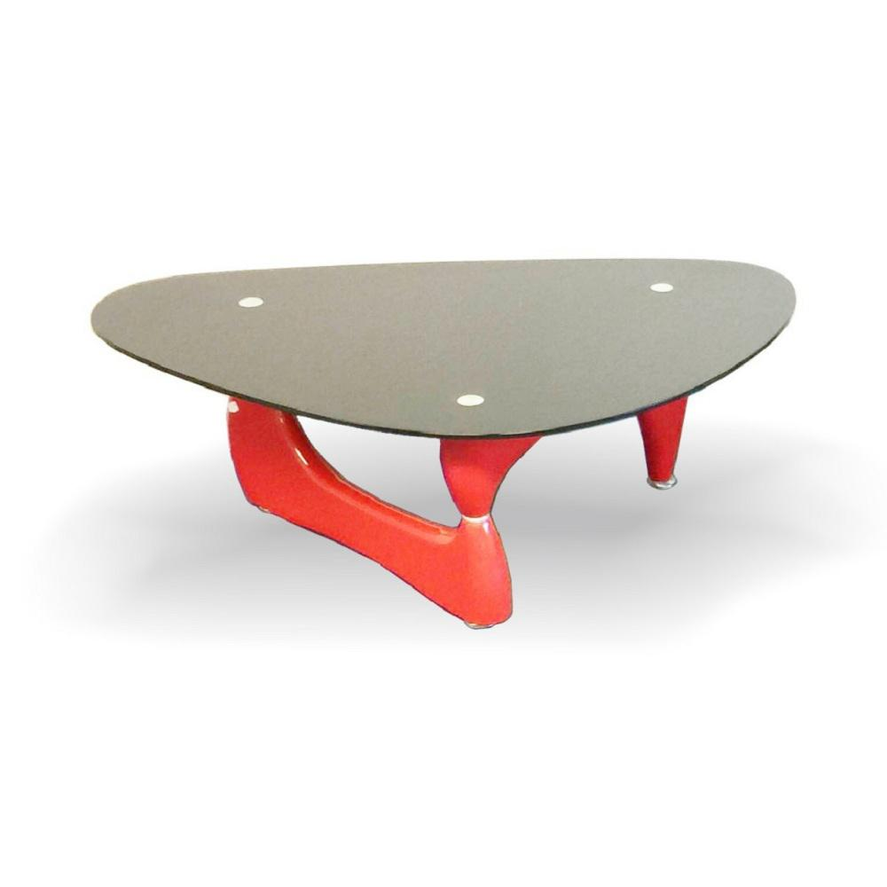 Fab Gl And Mirror Noguchi Style Red Coffee Table With Black