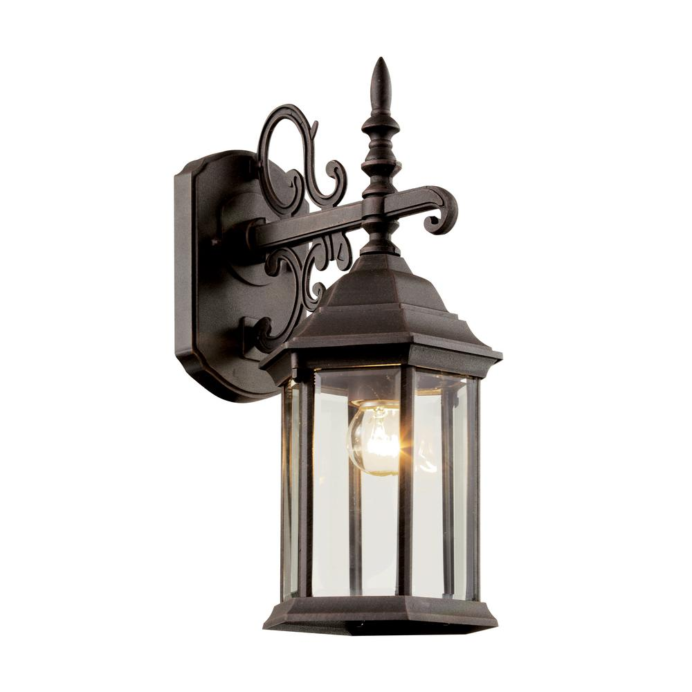 1-Light Outdoor Rust Wall Lantern With Clear Beveled Glass