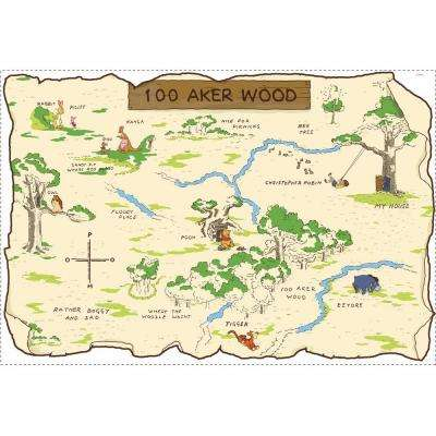 3.5 in. x 27 in. Winnie the Pooh 100 Aker Wood Peel and Stick Map (1-Piece)