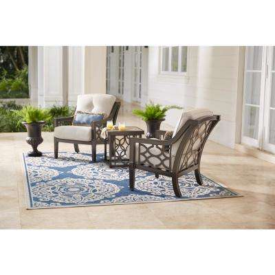 white iron patio furniture. Delighful Patio Richmond Hill 3Piece Patio Chat Set With Hybrid Smoke Cushions To White Iron Furniture