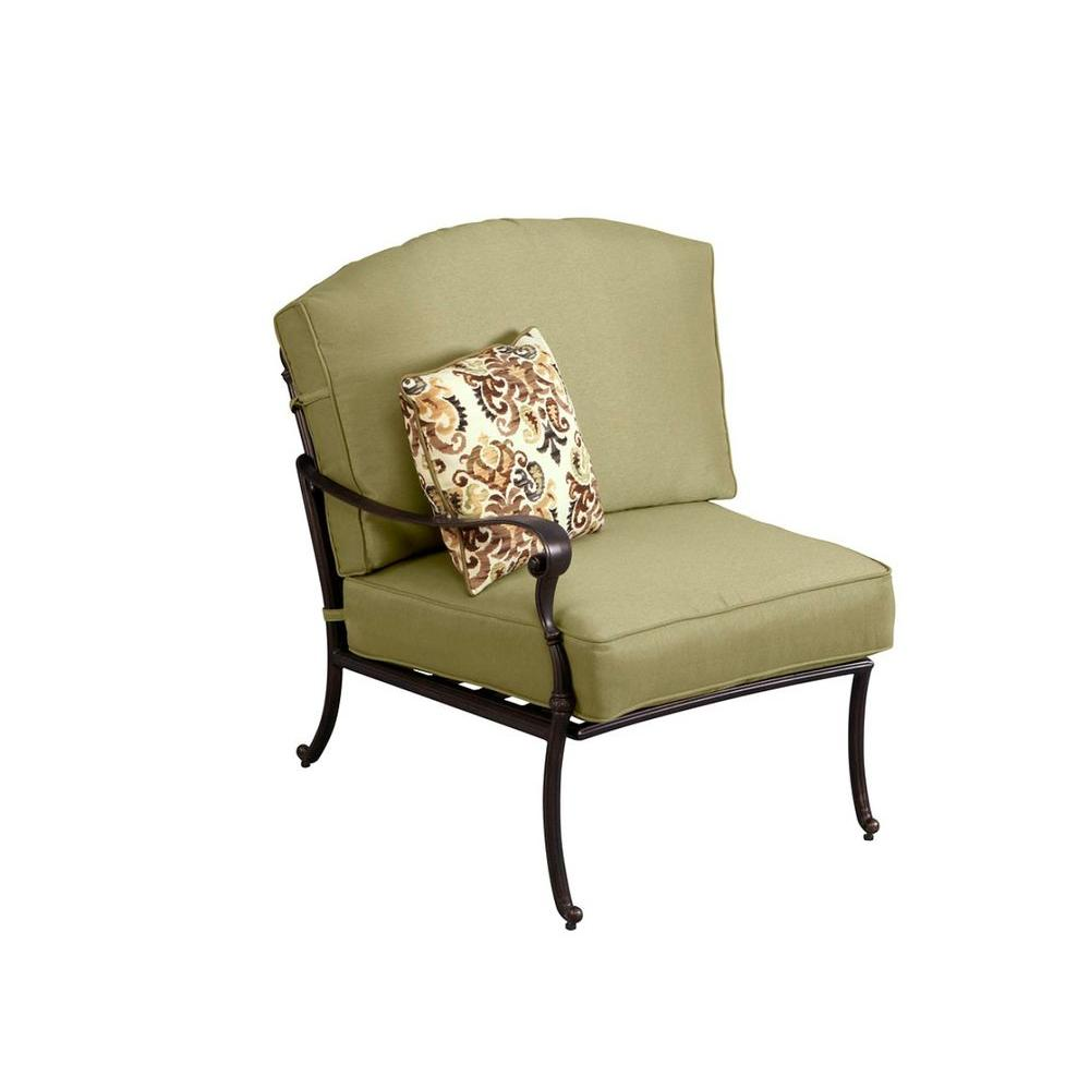 Hampton Bay Edington Left Arm Facing Patio Sectional Chair With Celery Cushion 141 034 Lsc The