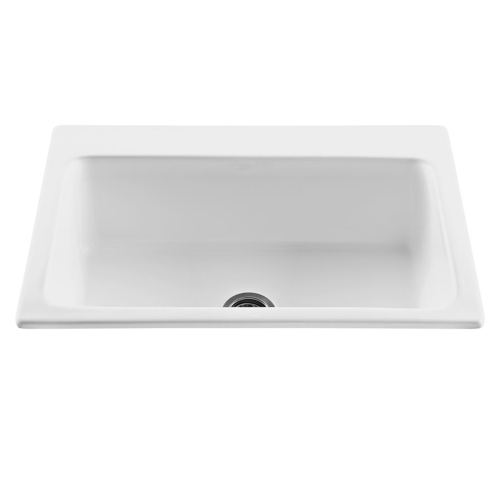 thermocast manhattan drop in acrylic 33 in 1 hole single bowl kitchen sink in white 48100 the. Black Bedroom Furniture Sets. Home Design Ideas