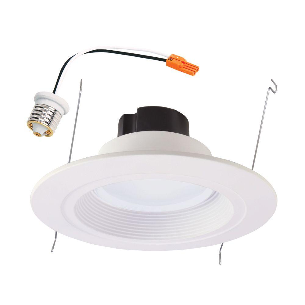 Halo rl 5 in and 6 in white integrated led recessed ceiling light halo rl 5 in and 6 in white integrated led recessed ceiling light fixture retrofit downlight at 90 cri 3000k soft white rl560wh6930r the home depot audiocablefo