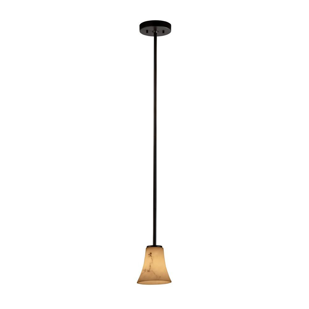 Justice Design LumenAria 1-Light Dark Bronze Pendant with Faux Alabaster Shade