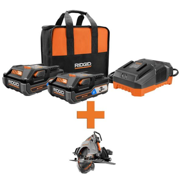 RIDGID 18-Volt OCTANE Lithium-Ion (2) 3.0 Ah Batteries and Charger Kit w/Free OCTANE Brushless 7-1/4 in. Circular Saw