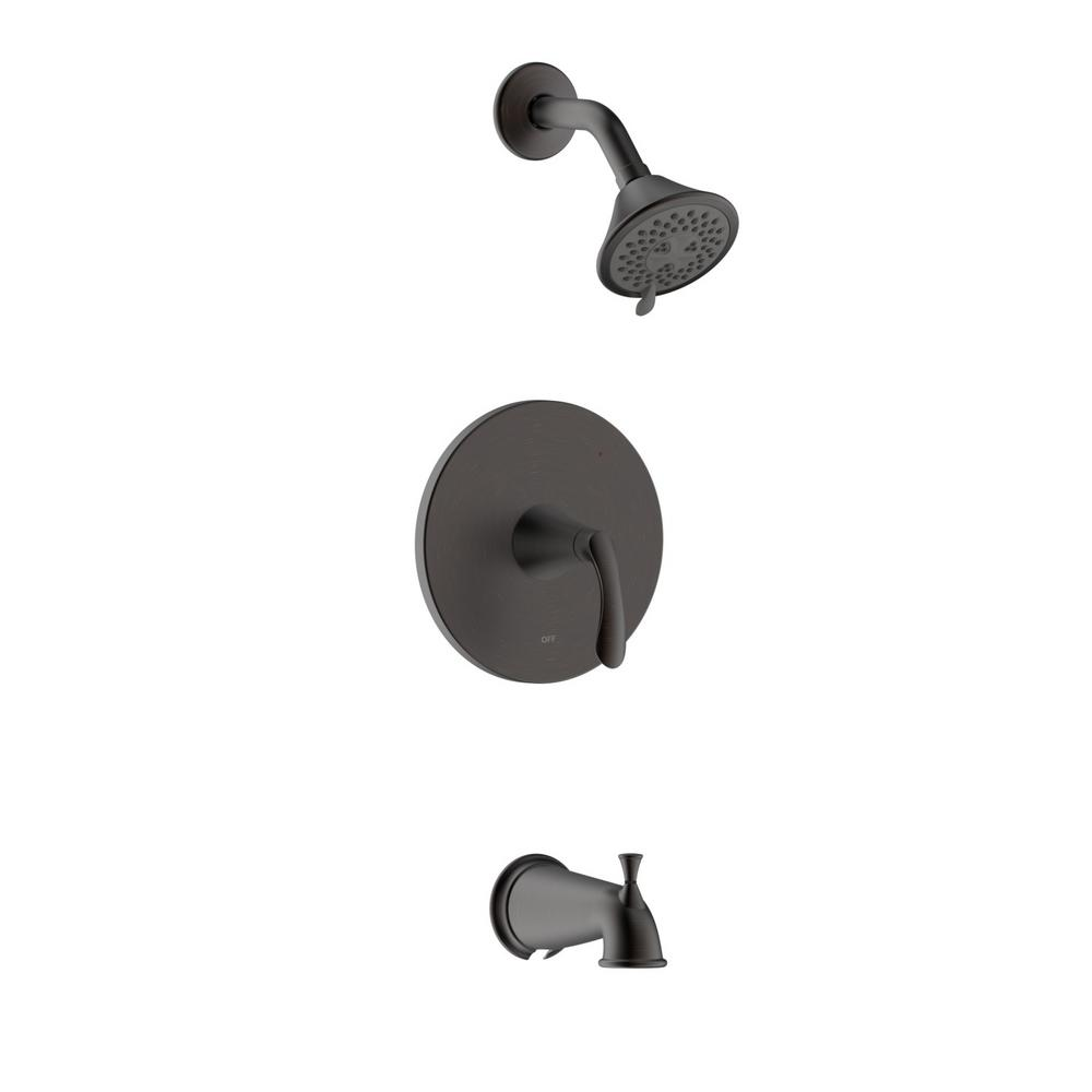 Fontaine by Italia Arts et Metiers Single Handle 3-Spray Regular and Massage Tub and Shower Faucet with Rough-In Valve in Oil Rubbed Bronze