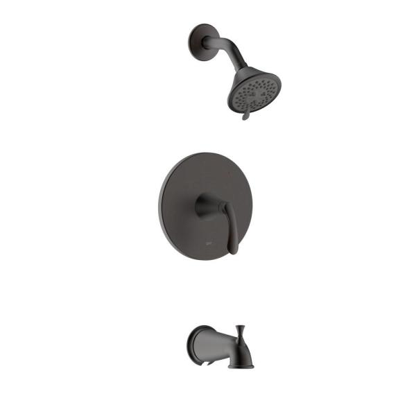 Arts et Metiers Single Handle 3-Spray Regular and Massage Tub and Shower Faucet with Rough-In Valve in Oil Rubbed Bronze