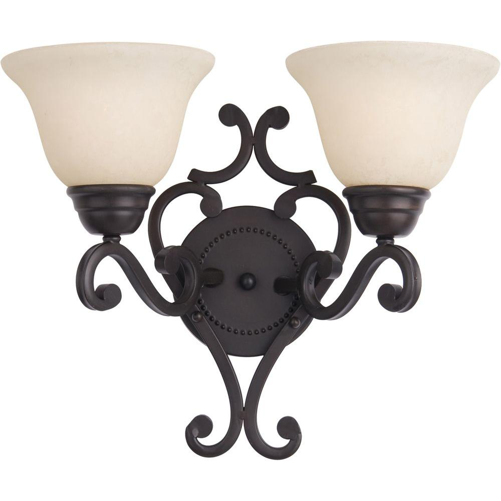 Maxim Lighting Manor 2-Light Oil Rubbed Bronze Wall Sconce  sc 1 st  Home Depot & Maxim Lighting Manor 2-Light Oil Rubbed Bronze Wall Sconce-12212FIOI ...