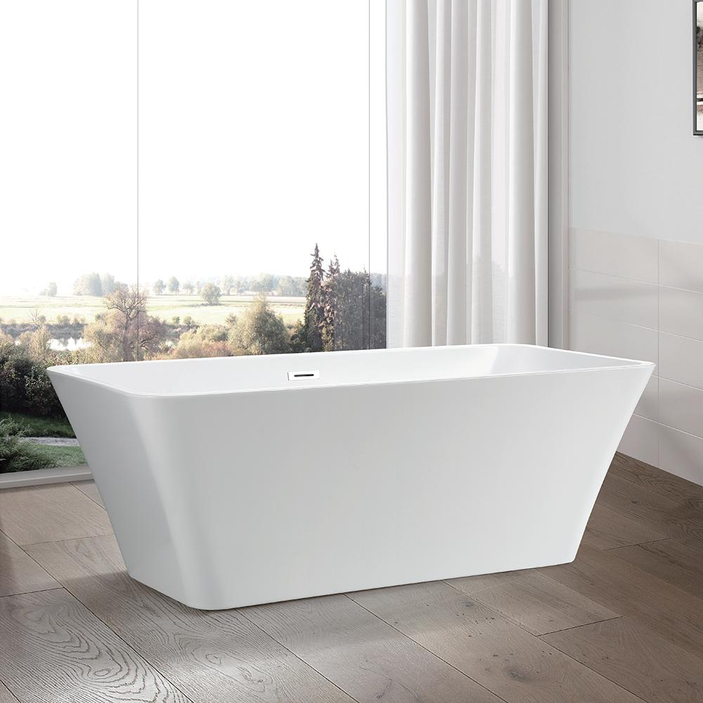 Vanity Art Nantes 67 in. Acrylic Flatbottom Freestanding Bathtub in White