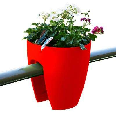 11.4 in. x 11.8 in. x 11.4 in. Red Plastic Railing and Deck Planter (2 pack)