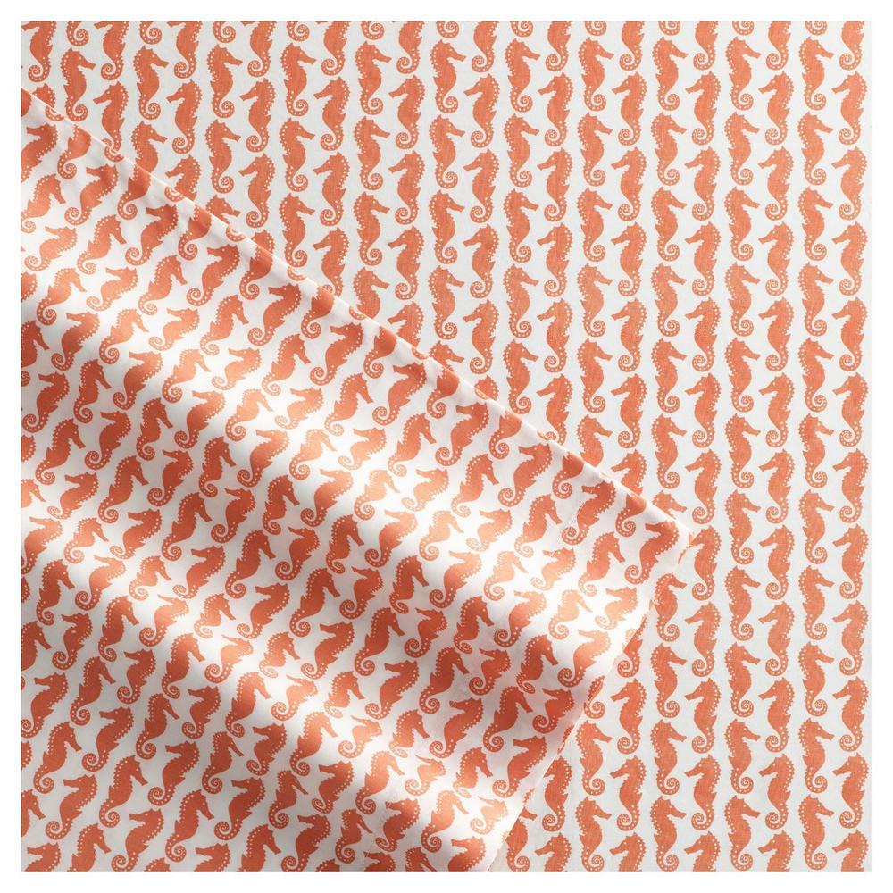Poppy & Fritz Seashorses 3-Piece Coral 200 Thread Count Twin XL Sheet Set