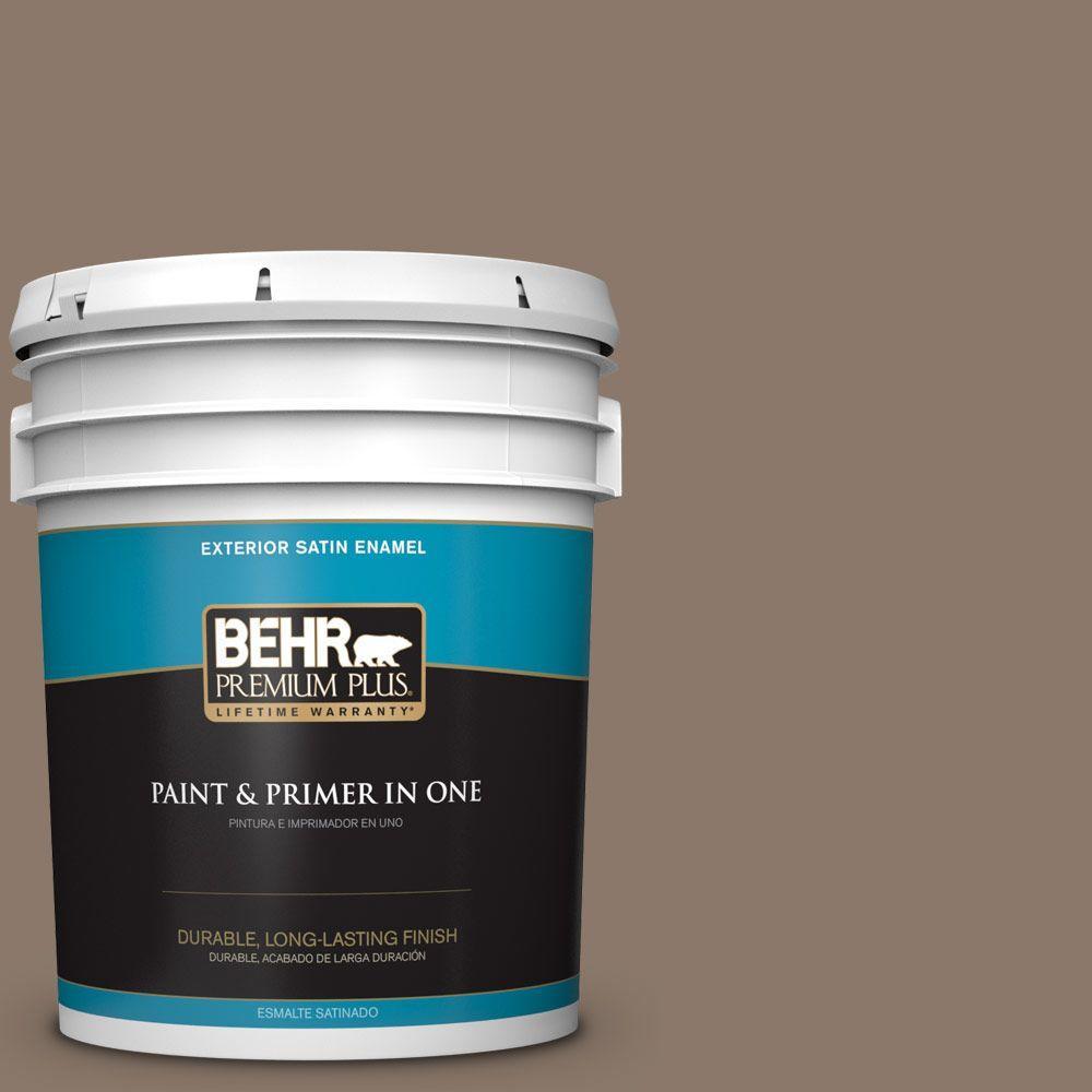 Behr premium plus 5 gal n210 5 caffeine satin enamel for Exterior paint satin 5 gal