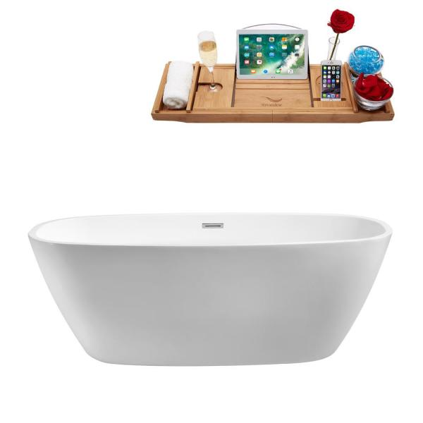 66.9 in. Acrylic Flatbottom Non-Whirlpool Bathtub in White