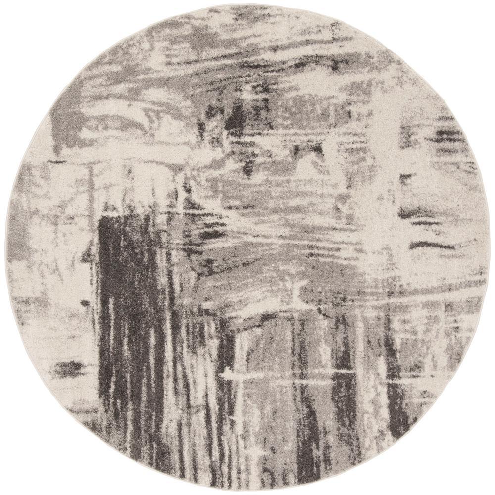 Adirondack Ivory/Gray 7 ft. x 7 ft. Round Area Rug