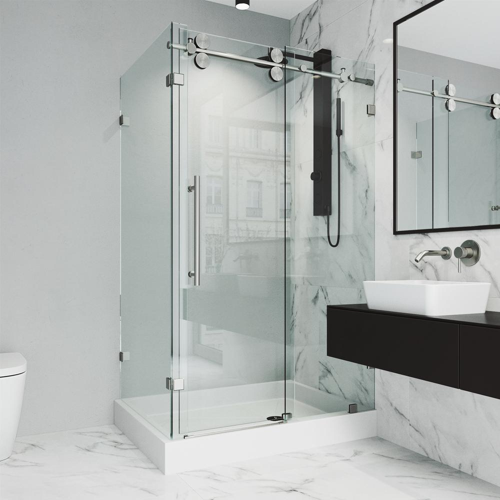 VIGO Winslow 48.13 in x 79.88 in. Frameless Bypass Shower Enclosure in Stainless Steel and Clear Glass with Right Base