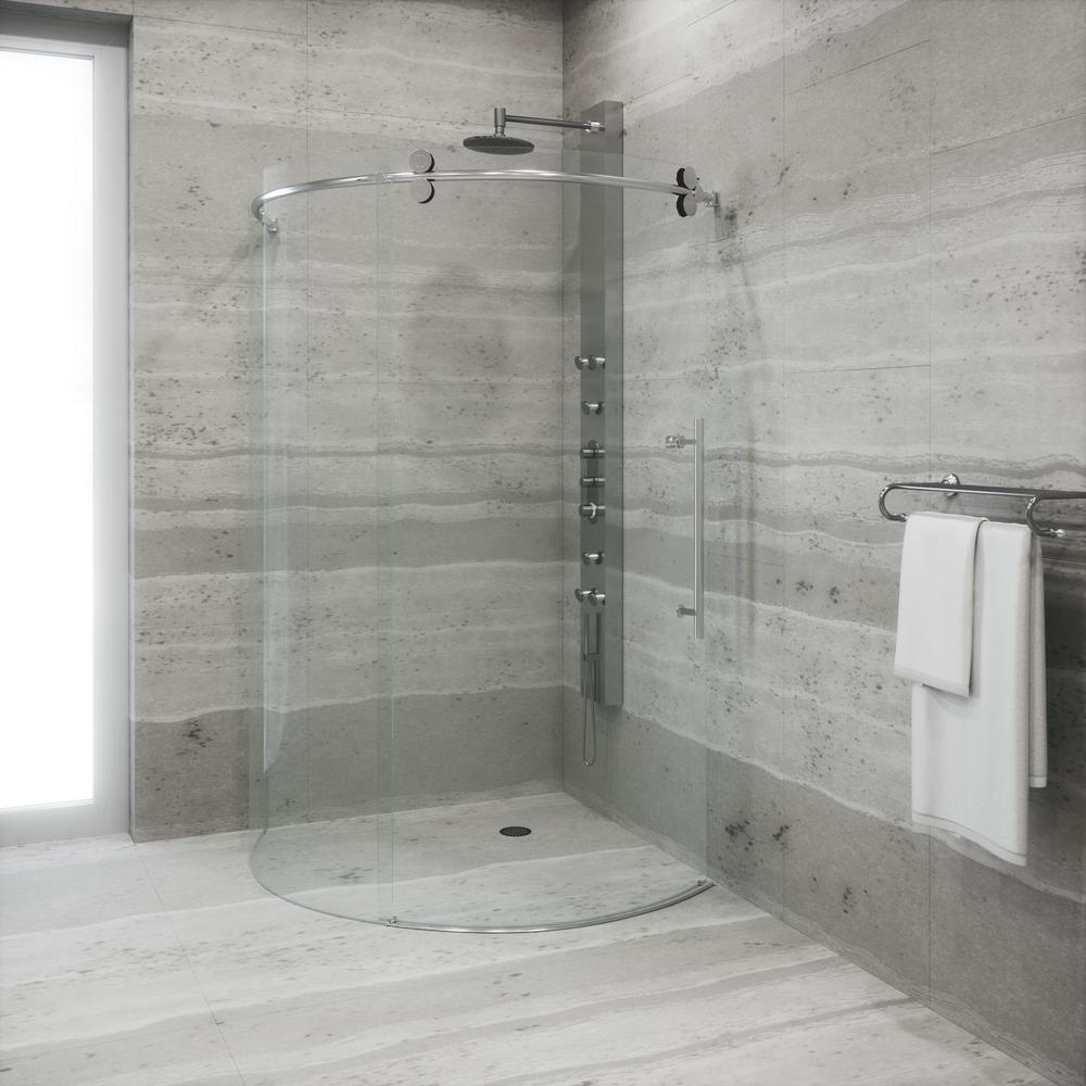 VIGO Sanibel 38 in. x 74.625 in. Frameless Bypass Round Shower Enclosure Right Door in Stainless Steel