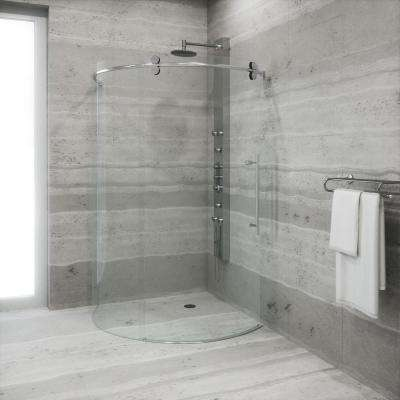 Sanibel 38 in. x 74.625 in. Frameless Bypass Round Shower Enclosure Right Door in Stainless Steel
