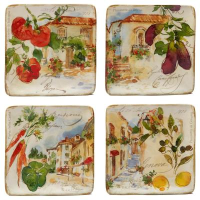 Piazzette 4-Piece Multi-Colored 8.5 in. Salad Plate Set