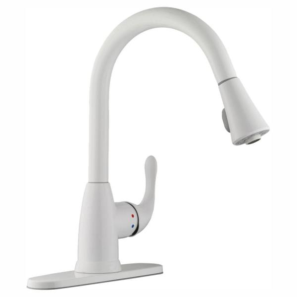 Glacier Bay Market Single-Handle Pull-Down Kitchen Faucet with TurboSpray and FastMount in White