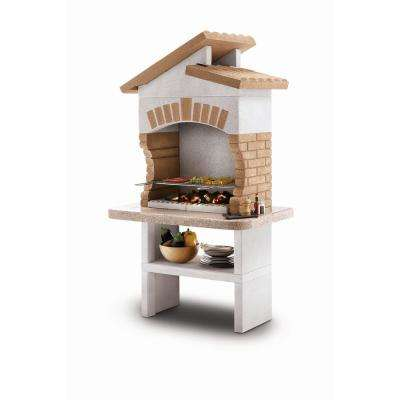 Marmotech 421.31 sq. in. Charcoal and Wood Fire Pedestal Grill in White/Tan