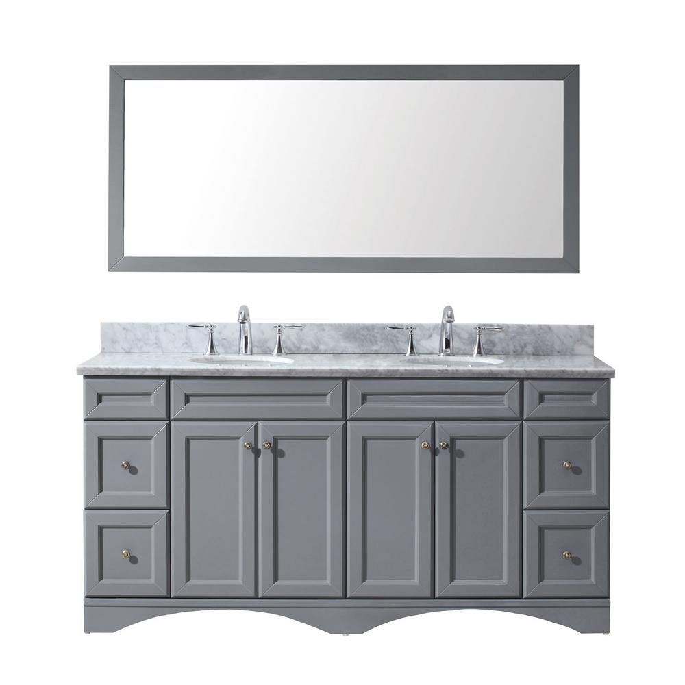 Virtu USA Talisa 72 in. W Bath Vanity in Gray with Marble Vanity Top in White with Round Basin and Mirror